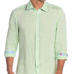 Ganesh Solid Long Sleeve Men Linen Shirt Green XXL